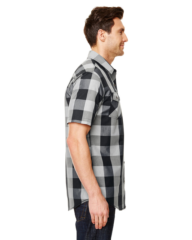 B9203 - Mens Buffalo Plaid Shirts - Black/White