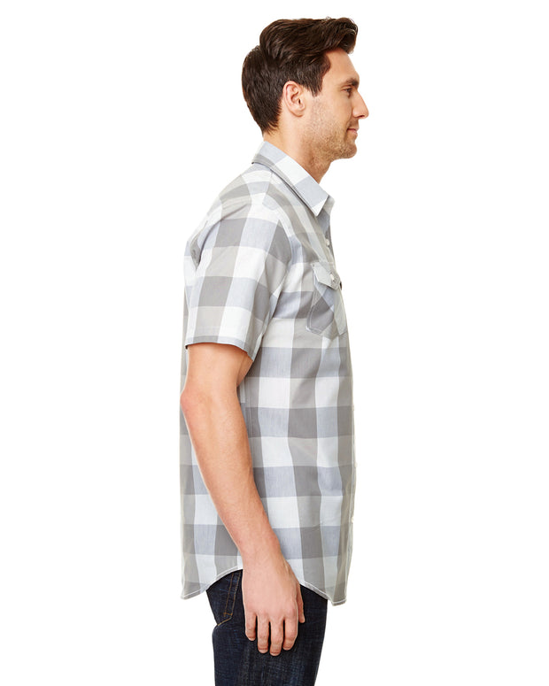 B9203 - Mens Buffalo Plaid Shirts - Grey/White