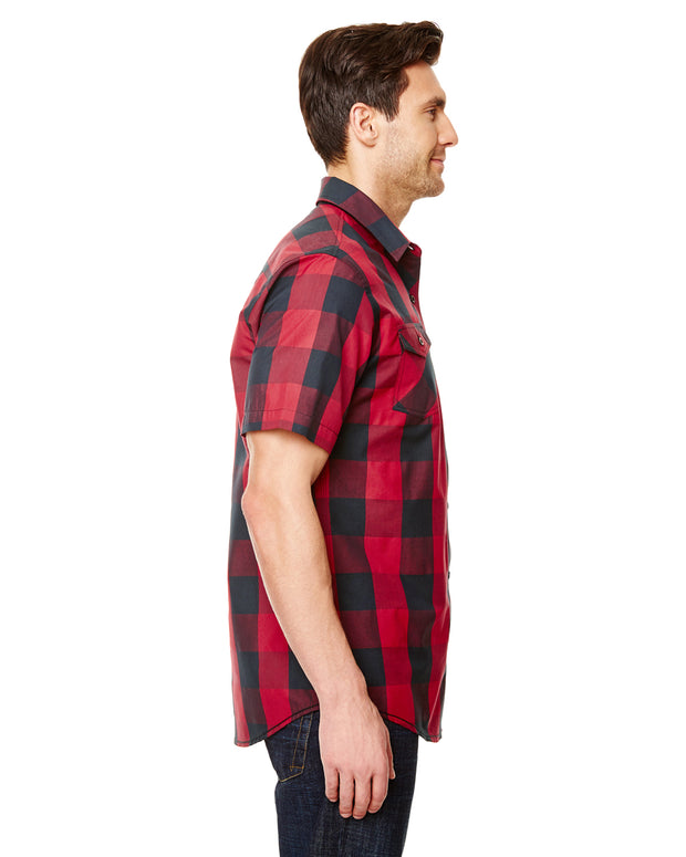 B9203 - Mens Buffalo Plaid Shirts - Red/Black