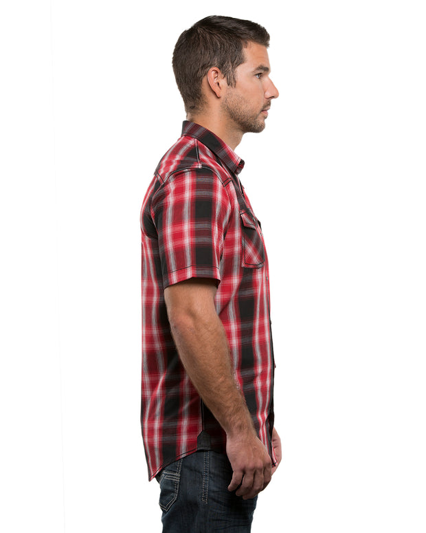 B9206 - Mens Short Sleeve Western Plaids - Red