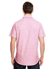 B9247 - Mens Short Sleeve Texture Woven - Red