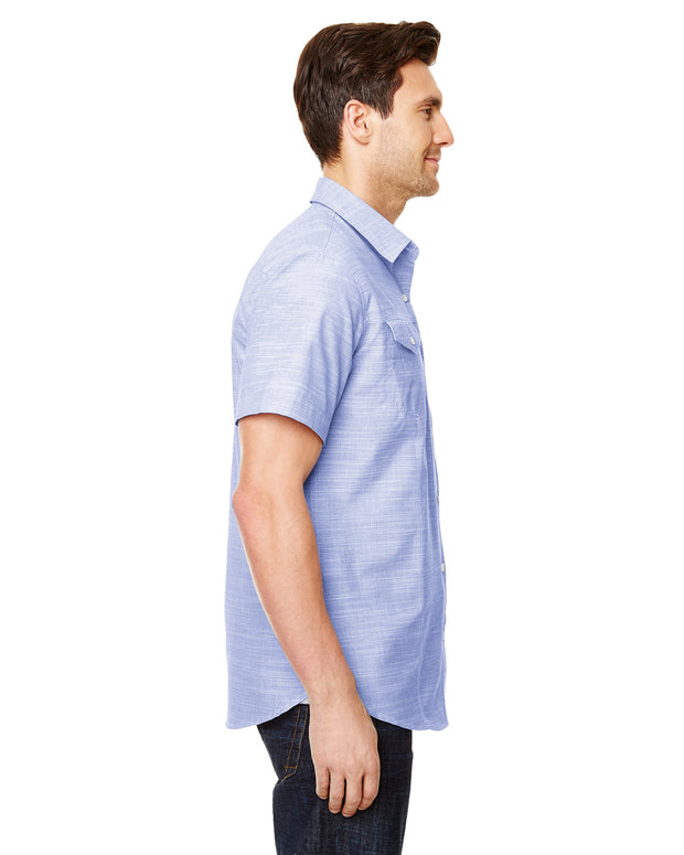 B9247 - Mens Short Sleeve Texture Woven - Blue