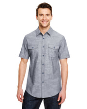 B9255 - Mens Short Sleeve Chambray Shirts - Dark Denim