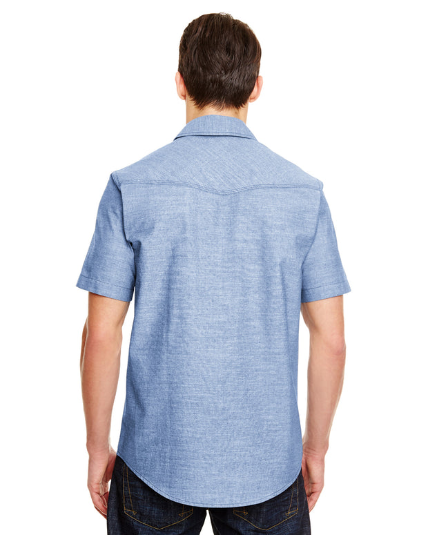 B9255 - Mens Short Sleeve Chambray Shirts - Light Denim