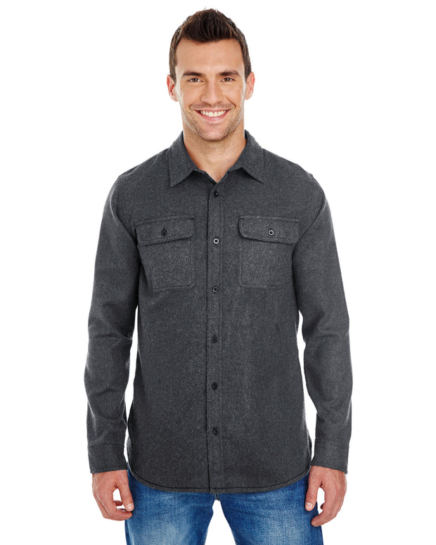 B8200 - Mens Solid Long Sleeve Flannel Shirts - Charcoal