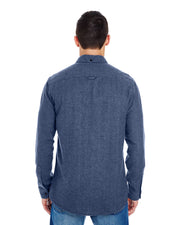 B8200 - Mens Solid Long Sleeve Flannel Shirts - Denim