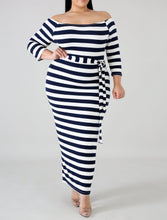 Load image into Gallery viewer, Stripe Me Down Off Curvy Shoulder Dress | Rugged Rose Boutique