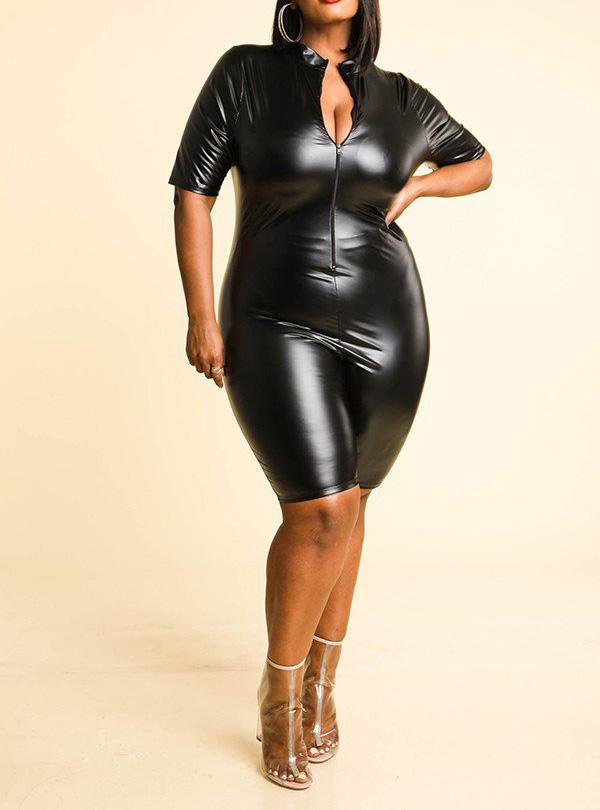 Satin Faux Leather Curvy Biker Romper | Rugged Rose Boutique