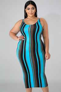 Ocean Water Curvy Midi Dress | Rugged Rose Boutique