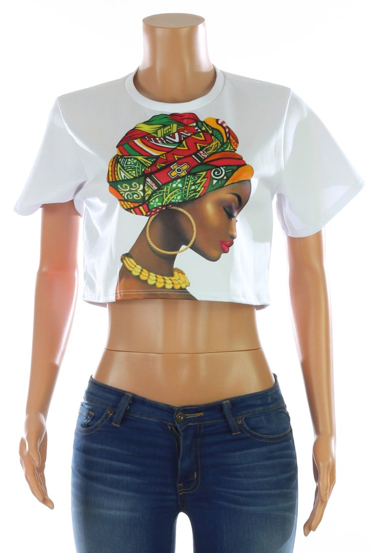 African Queen Print Crop Top | Rugged Rose Boutique