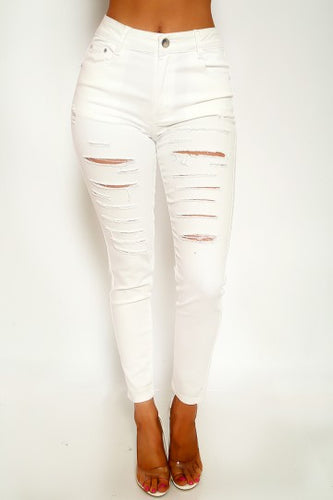 White Denim Distressed Skinny Jeans  | Rugged Rose Boutique