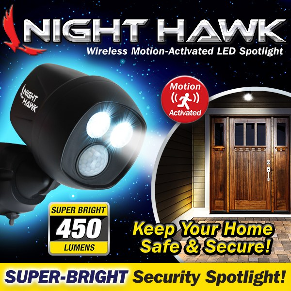 Night Hawk LED Motion-Activated spotlight