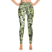 Load image into Gallery viewer, Green snakeskin high waisted yoga dance gym leggings tights