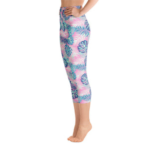 Tropical Print High Waisted Capri Yoga Leggings