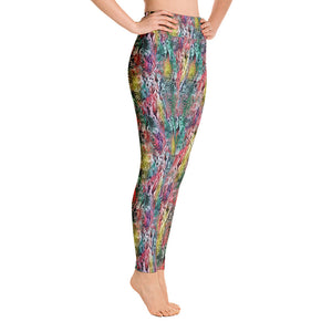 Rainbow snakeskin high waisted yoga dance running gym leggings tights