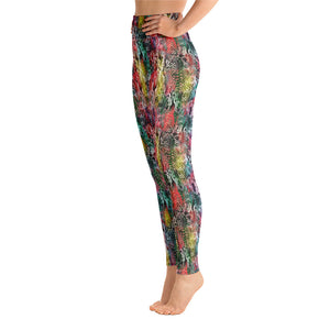 Rainbow snakeskin high waisted yoga gym dance running leggings tights