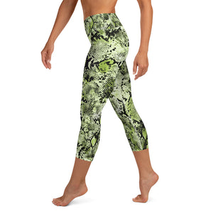Green Snake Skin High Waisted Capri Leggings