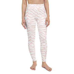 Pink zebra high waisted yoga leggings