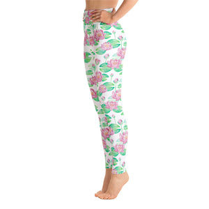 Lula Activewear White Lotus Flower High Waisted Yoga Leggings