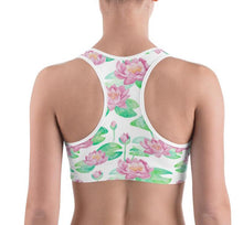 Load image into Gallery viewer, Lula Activewear White Lotus Flower Sports Bra