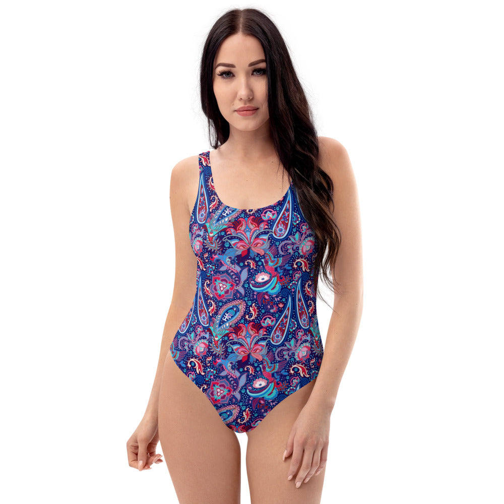 Blue Paisley One-Piece Swimsuit