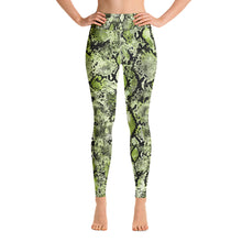 Load image into Gallery viewer, Green snakeskin yoga dance gym high waisted leggings tights
