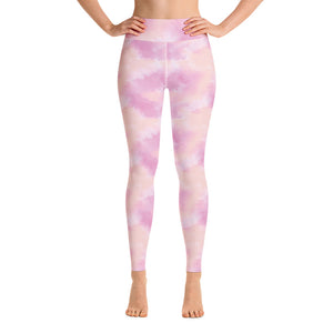 Pink tie dye high waisted yoga gym leggings tights