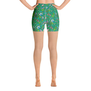 Lula Activewear Green Secret Garden High Waisted Shorts