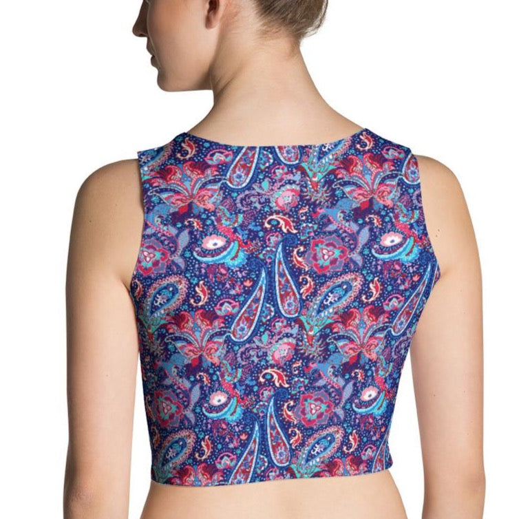 Blue Paisley Fitted Crop Top