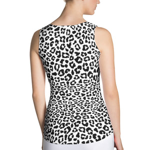 Lula Activewear black and white leopard print fitted tank top