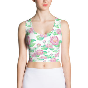White Lotus Flower Fitted Crop Top