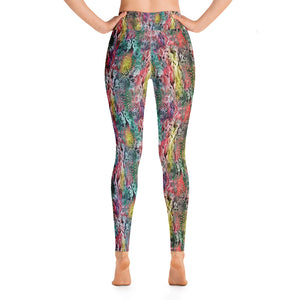 Rainbow snakeskin high waisted dance gym yoga running leggings tights