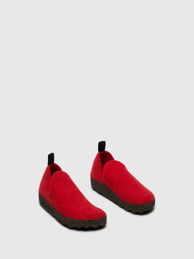 ASPORTUGUESAS Red Round Toe Ankle Boots