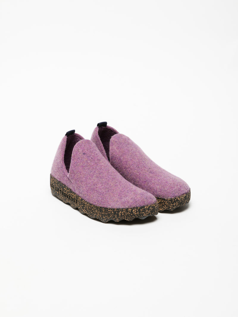 Purple Round Toe Ankle Boots
