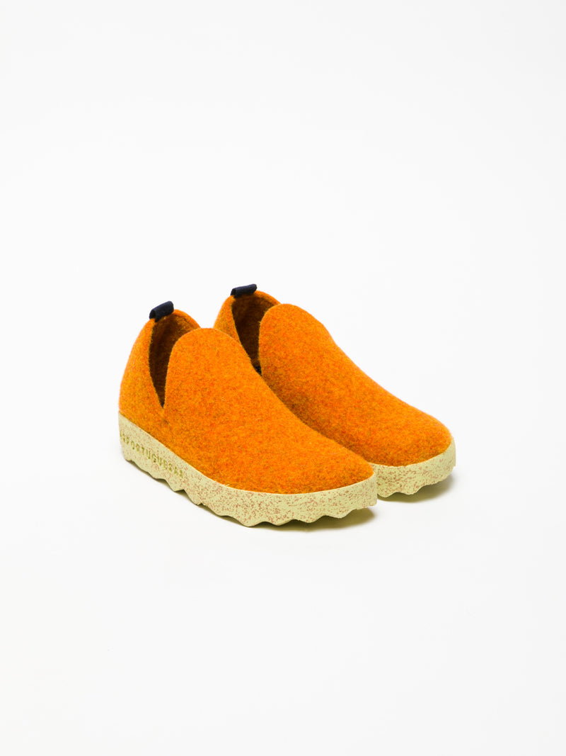 Orange Round Toe Ankle Boots