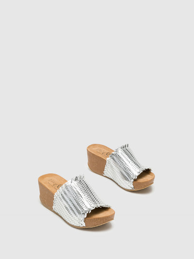 Bos&Co Silver Wedge Mules