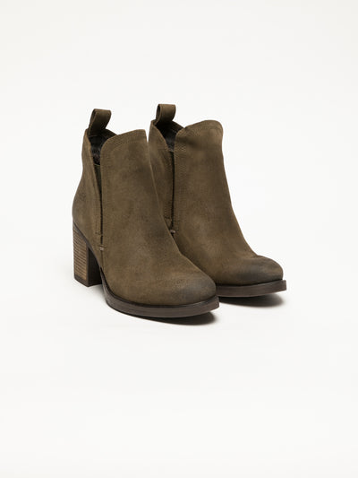 Bos&Co Khaki Round Toe Ankle Boots
