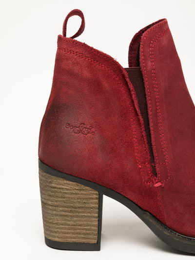 Bos&Co Red Round Toe Ankle Boots