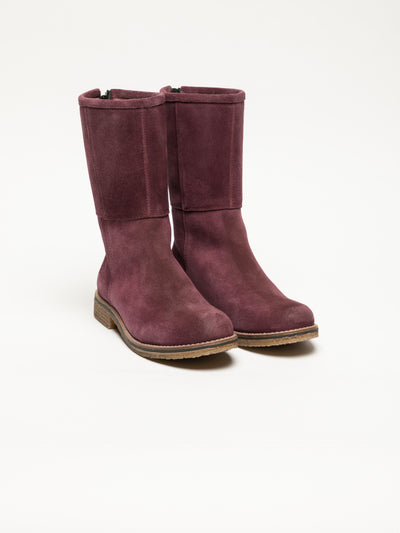 Bos&Co DarkRed Zip Up Ankle Boots