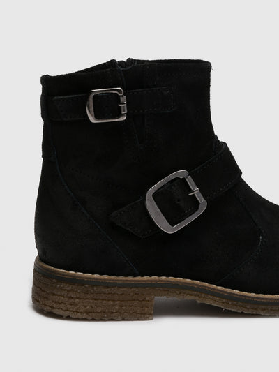 Bos&Co Black Zip Up Ankle Boots