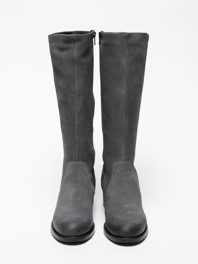Gray Knee-High Boots