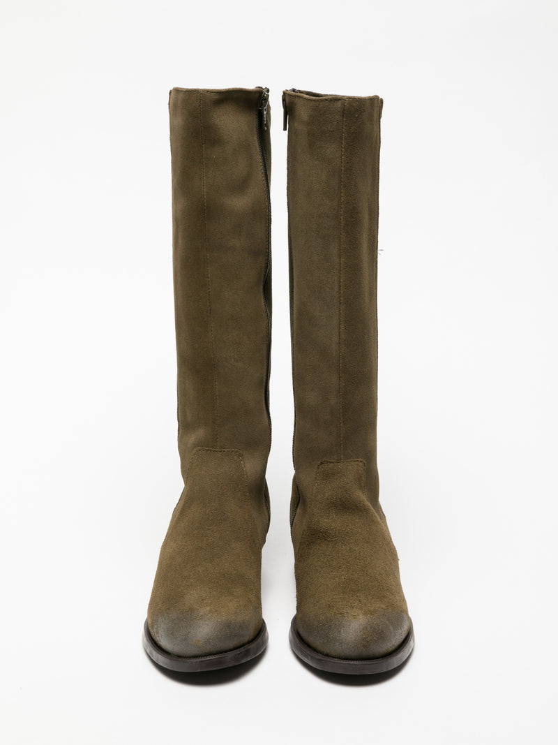 Khaki Knee-High Boots