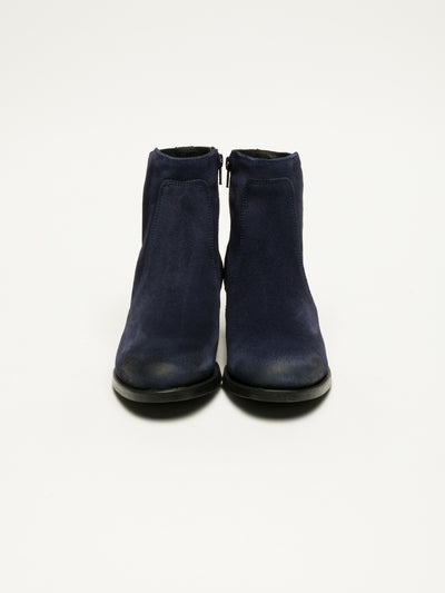 Bos&Co Navy Zip Up Ankle Boots