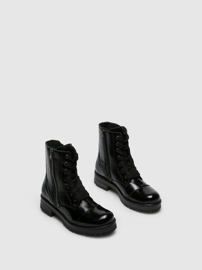 Bos&Co Black Leather Zip Up Ankle Boots