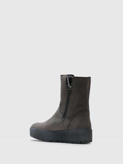 Bos&Co Gray Zip Up Boots