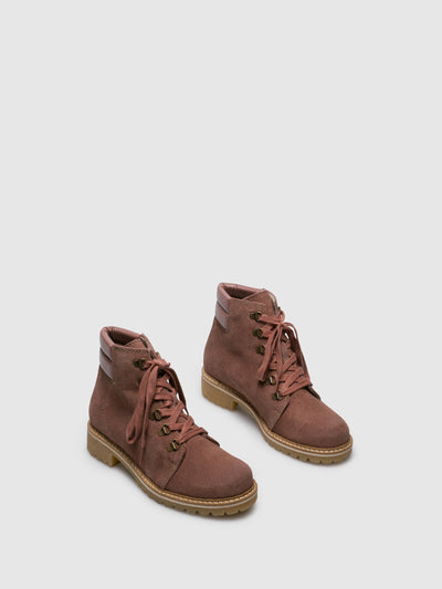Bos&Co Pink Lace-up Ankle Boots