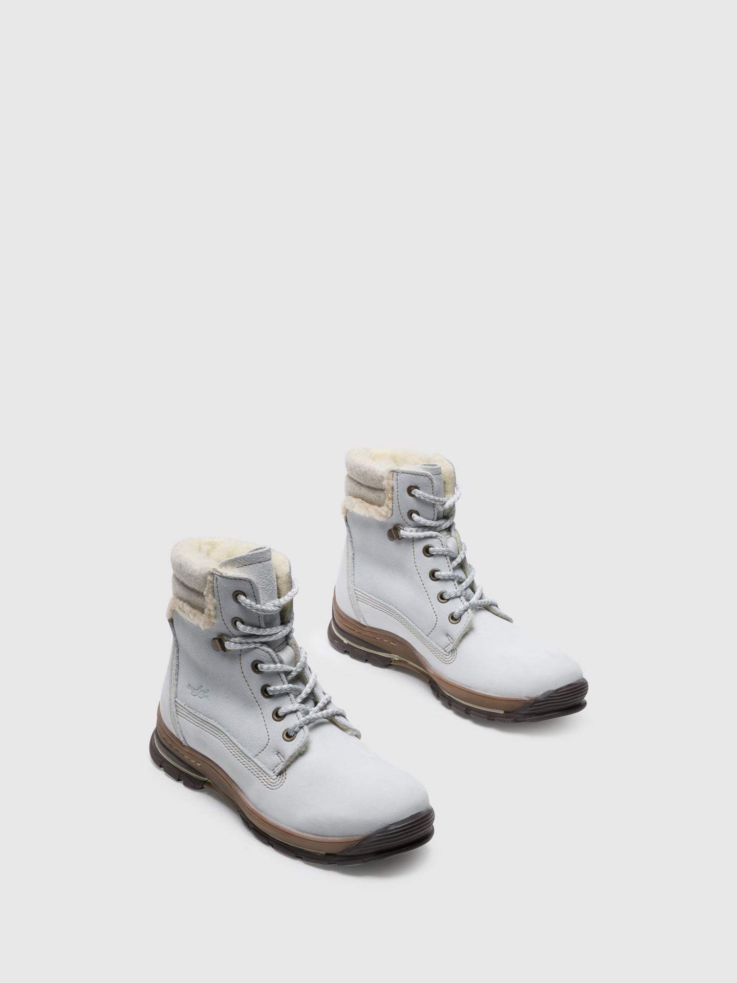 Bos&Co White Lace-up Ankle Boots