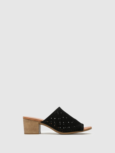 Bos&Co Black Chunky Heel Mules