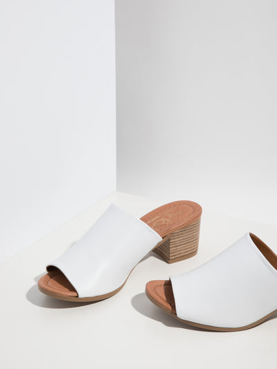 Bos&Co White Chunky Heel Mules