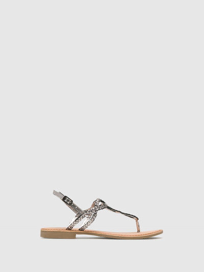 Bos&Co Gray Buckle Sandals